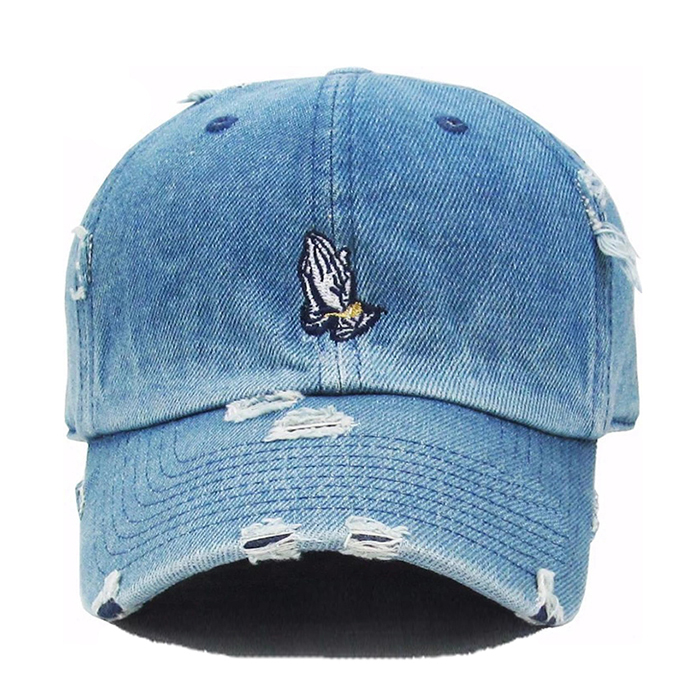Promotional price denim baseball <strong>cap</strong> custom embroidery logo dad hats low profile distressed denim dad <strong>caps</strong>