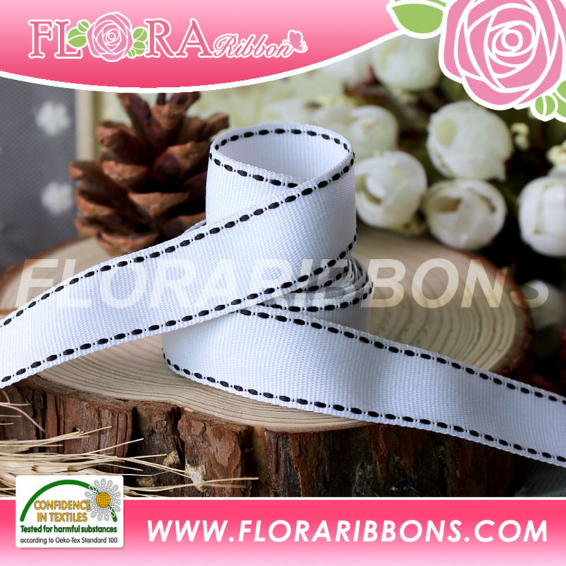 White Stitch grosgrain ribbons