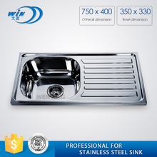 WY-7540 hot sale in Africa 201 counter tops kitchen sink with customized thickness and depth