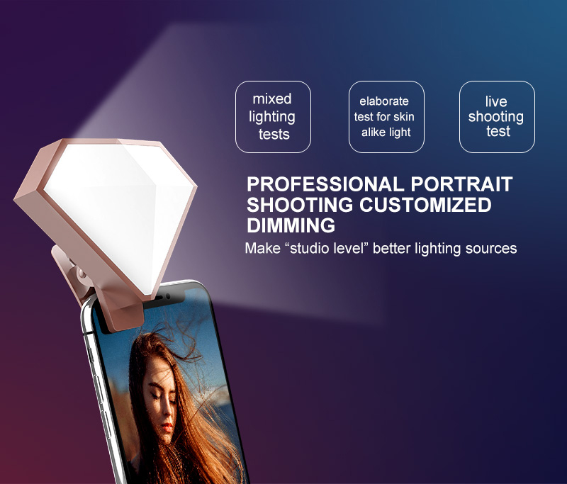 New Products 2018 Diamond Shape LED Selfie Flash Light Rechargeable Selfie Ring Light