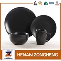 16 pcs classic matt black ceramic stoneware dinnerware set