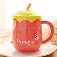 OXGIFT Wholesale Manufacturing Factory Price Amazon Big belly fruit porcelain tea cup Ceramic Coffee cup mug With straw lid