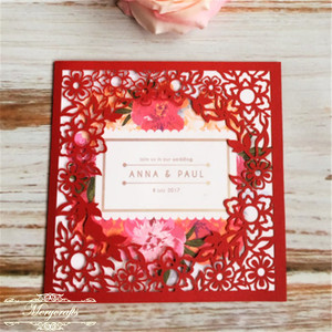 Wedding Invitation unique cute small flower design Chinese Handmade traditional Red Laser Cut Card