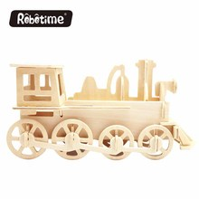 Robotime wooden puzzle toy JP302 Train Engine DIY 3D wooden puzzle gift education toys for kids
