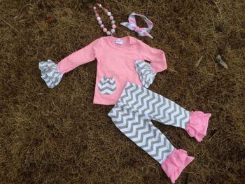 baby girls gray chevron pink ruffle pink pant set girls outfits with matching necklace and bow