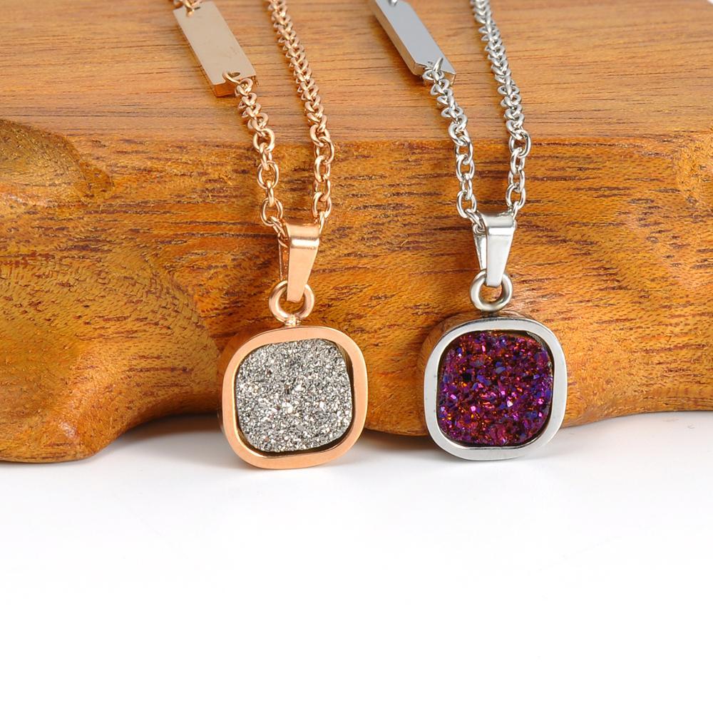 2018 New Design Gold Druzy Gemstone Pendant Jewelry, Silver Stone Crystal Pendant