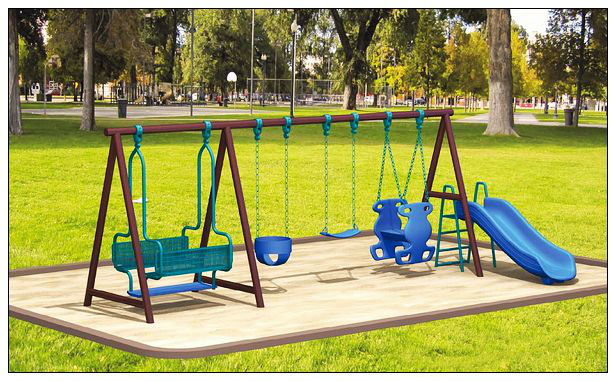 Children outdoor combined swing with slide LT-2106A