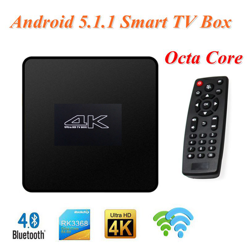 T052 Android 5.1.1 Smart TV Box RK3368 Octa Core 1GB+8GB 2.4G/5G WiFi 4K*2K BT 4.0 Set Top TV Box