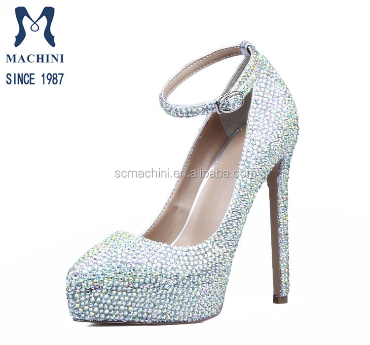 Classic ladies ankle strap bling rhinestone round toe high heel wedding shoes with platform