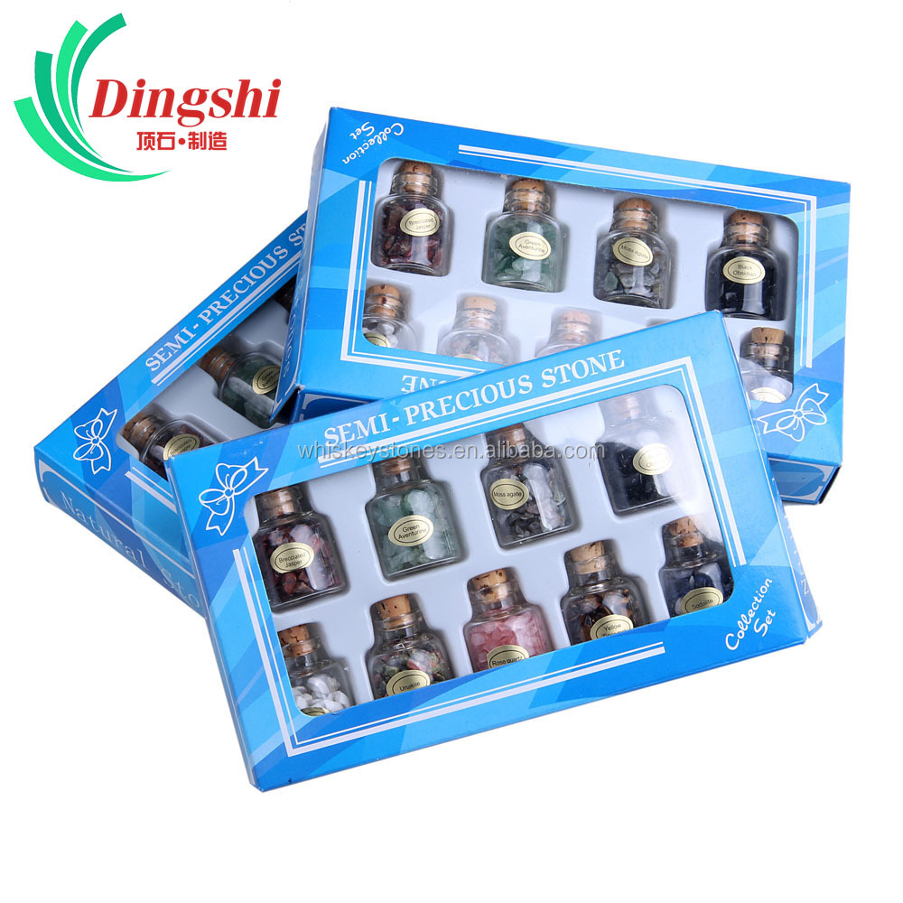 Wholesale Natural Semi-precious Wish Glass Bottles Collection Chip Stone Set