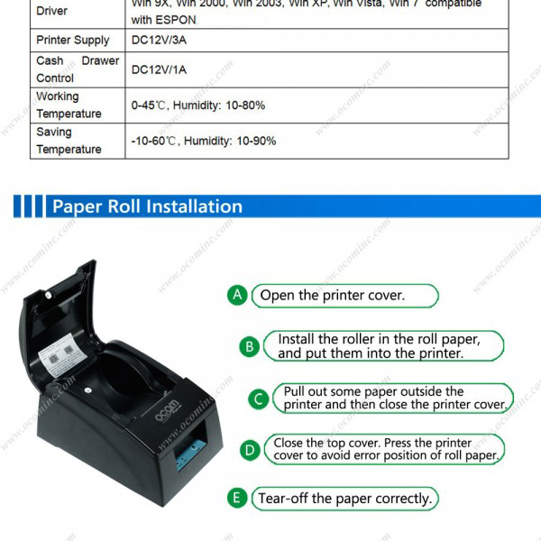 OCPP-586 Best Price USB RS232 Parallel LAN options port 58MM receipt thermal printer