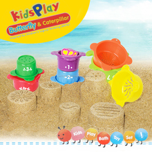 Baby Bath Tub Toy 7 Stacking Cups Bathtime Playset for Kids By Withtime