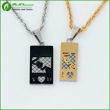 Couple Heart Gem Stainless Steel Love Gold Black Pendent Necklaces