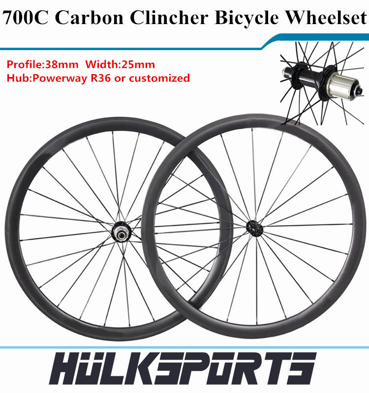 Cheap 700C Carbon Fiber Bike Wheels Clincher Chinese Carbon Wheelset U shape carbon wheels