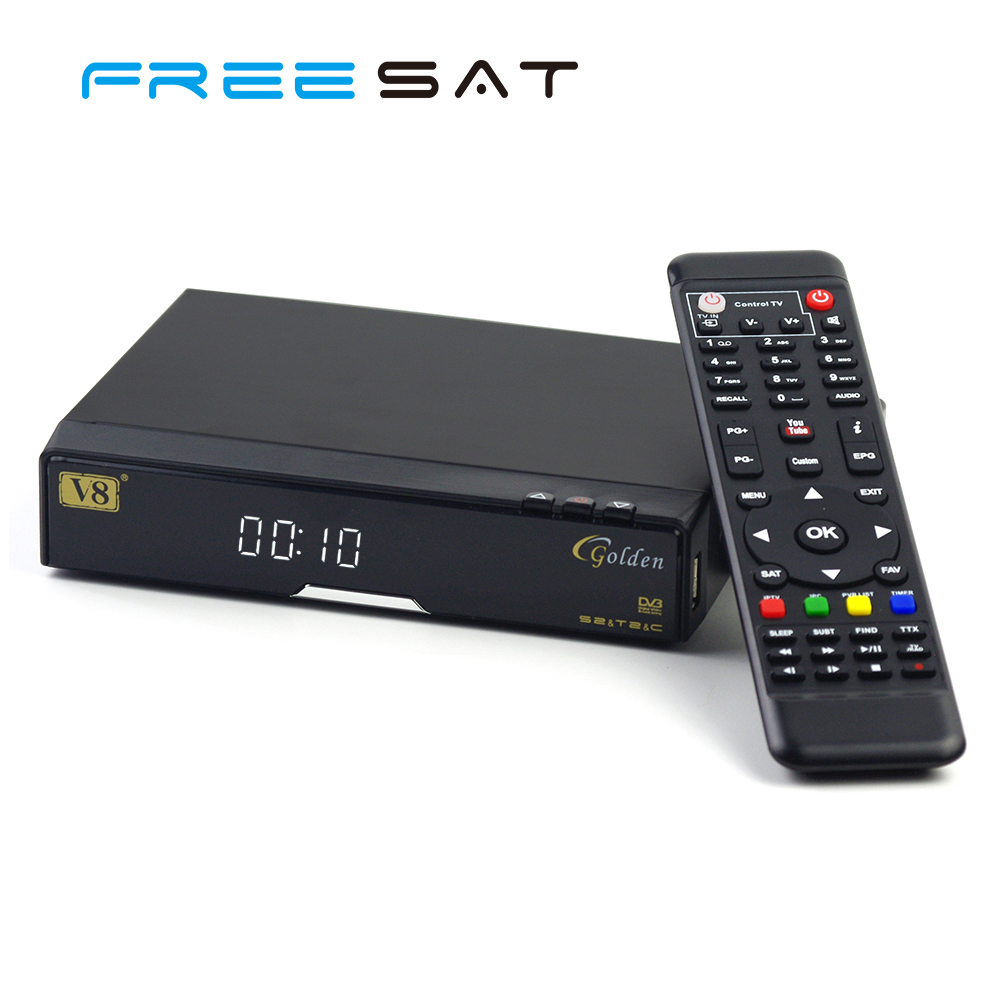 Freesat V8 Golden CATV <strong>1080P</strong> HD Set Top Box DVB-S2/T2/<strong>C</strong> IPTV Satellite Receiver with Remote Coltrol Support Ccccam Biss Key