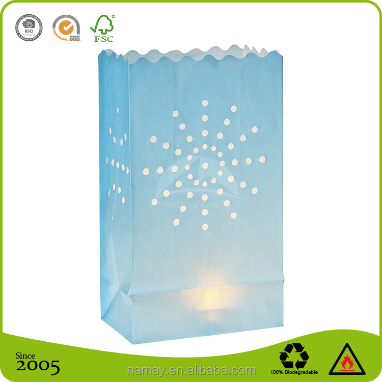 Waterproof Light Blue wax Illuminating tealight paper Candle Bags