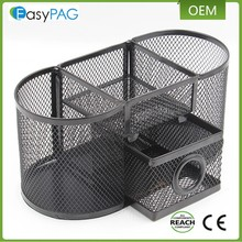 EasyPAG High Quality Office School Desk Accessories Black Mesh Metal 3 compartments Desk Organizer with Slide Drawer