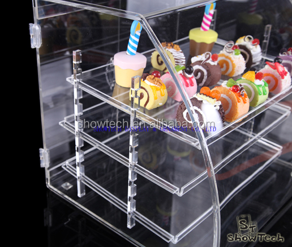 New Style acrylic display Store custom single side bread cabinet acrylic holder stand for cupcake display ST-CRVBT1814-04