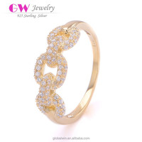 Laser Cut Wedding 925 Cz Ring Indian Jewellery With Link