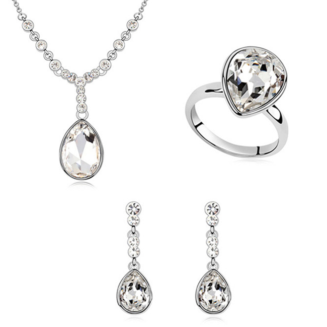 Newest best gift 18k white gold woman jewelry set Made With Swarovski Element crystal