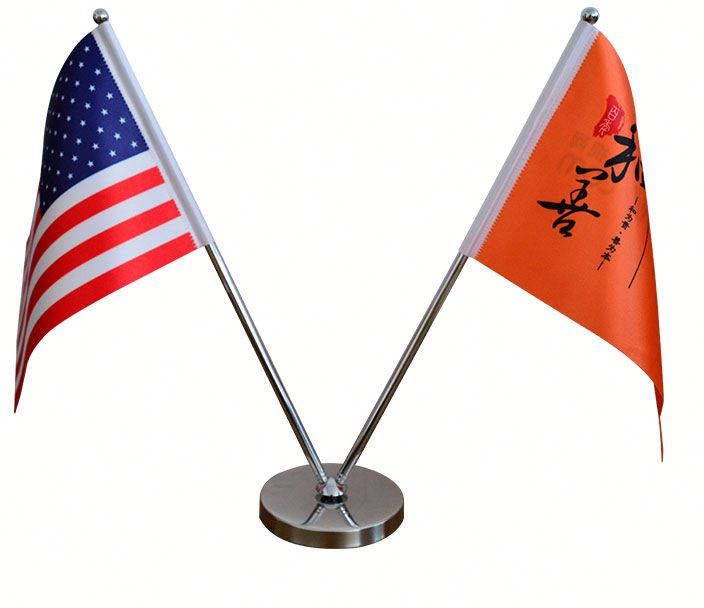 custom logo satin double sided printing desk flag stainless steel V-style telescopic desk flag stand