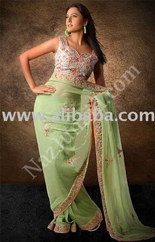 Light Grey & Green Saree pakistani indian clothing designer saree