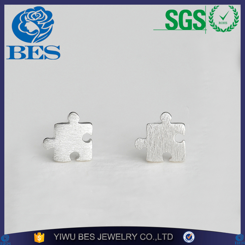 The New Listing 925 Sterling Silver European and American Simple Puzzle Stud Earrings Fun Personality Jewelry