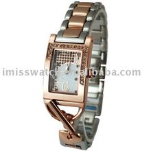 brand fashion lady rhinestone bezel watch with stainless steel band LMT-91036