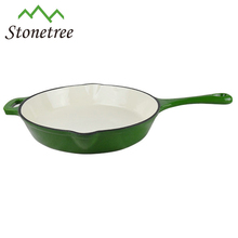 Green enamel coating cast iron frying pan made in China