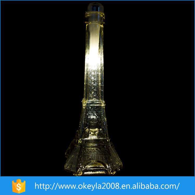 Eiffel Tower shape Glass Crafts with led cork