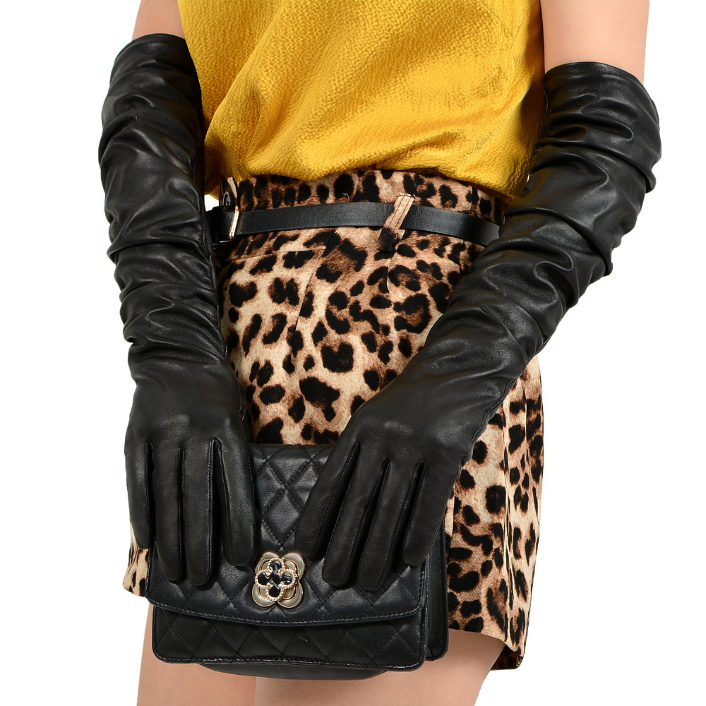 Wrinkle Design Elbow Length Ladies Dressing Leather Gloves