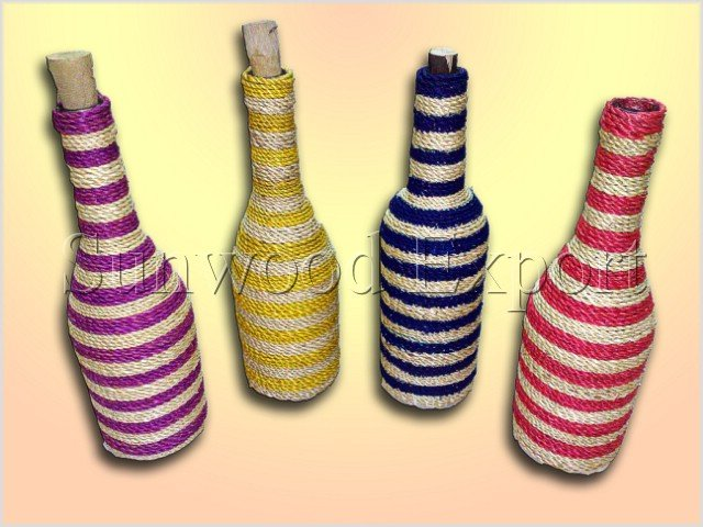 Long neck bottle with abaca weaving
