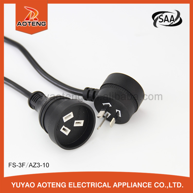 Australian standard 3 pin black plug power extension cord with black wire 4v-75 3x0.75mm2