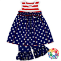 July 4th National Day Boutique Outfit Red White Stripe And Blue Star Baby Clothing Sets