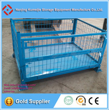 Warehouse Stackable Metal Storage Pallet Cage With Wheels