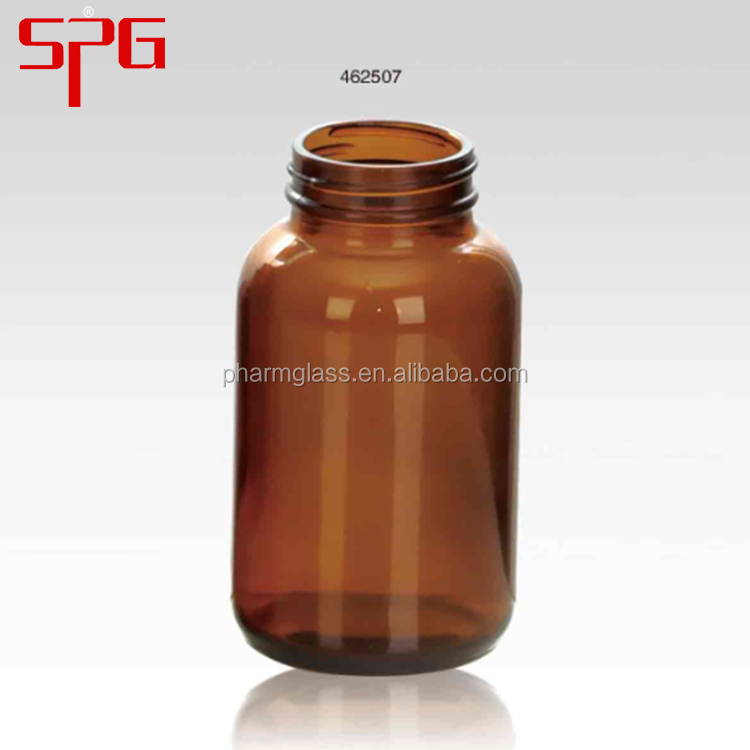 Wholesale products 250ml wide mouth various amber pill glass container