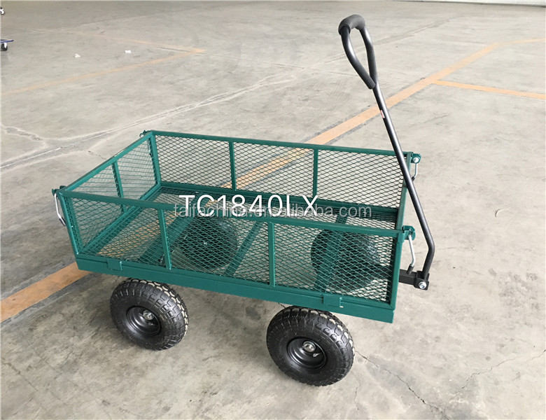 Heavy Duty Wheelbarrow Garden Metal Trolley Dump Hand Truck Cart 4 Wheel Trailer