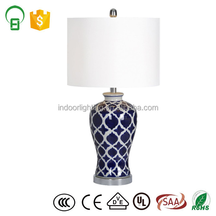 Blue and White Porcelain Chinese Jar Ceramic Table Lamp