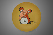 Chinese Zodiac rabbit silk printing 6 inch color glazed porcelain plate