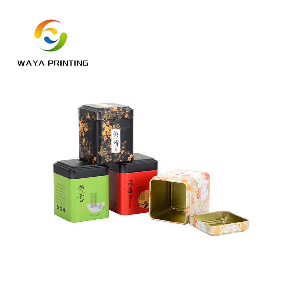Wholesale Custom print square shape small tin can box