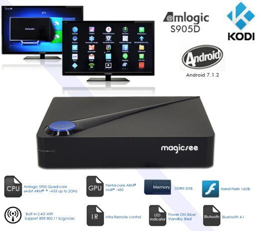 Magicsee C300 firmware update android smart tv box android 7.1 smart tv box DVB-S2 + DVB-T2 +DVB-C
