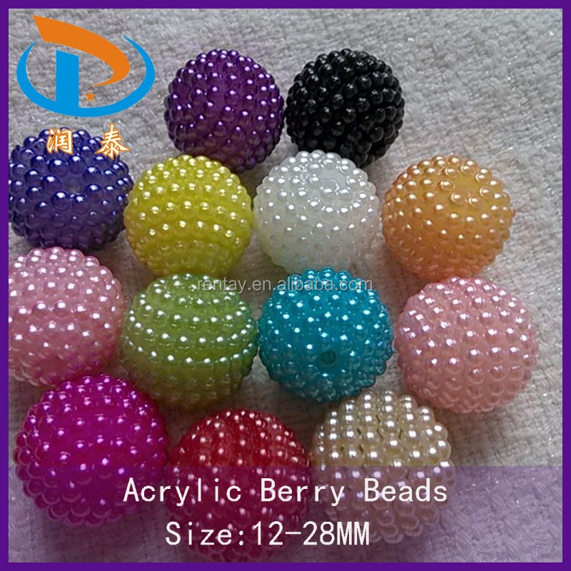 Wholesale Bulk Price 22MM Lovely Fashion Round Berry Chunky Colorful Acrylic Beads DIY Kids Jewelry