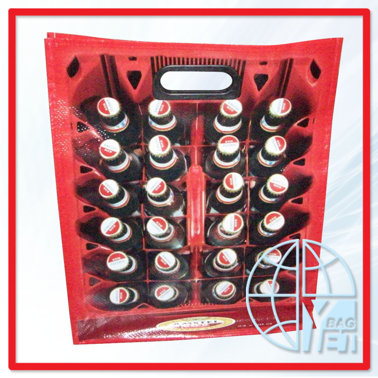 RED TRIM LOVE PRINGTING PP NON WOVEN WINE BEER BAG