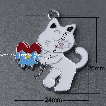 26x24x2mm White Zinc Alloy Animal Style Enamel Pendants323790