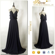 2017 Chaozhou Supplier A-line Black Long Night Sexy Evening Dress