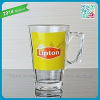 wholesale Lipton red tea glass hot tea cup decal printing logo clean glass tea mugs
