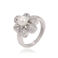 13511 rhodium color jewelry ring, latest pearl ring design, 2016 imitation pearl ring