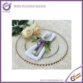 PZ22640 wholesale wedding gold beaded glass cheap charger plates