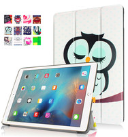 New arrival colorful with owl patterned case waterproof eco slim tablet case leather stand flip case for iPad Pro 9.7