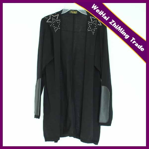 2015 Hot Design Women PU Cardigan With Shoulder Sequins Sweater